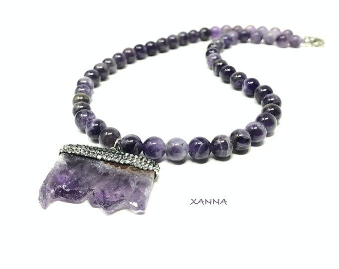 GEA1 Necklace /Semiprecious Stones/Amethyst/Amethyst Crystal Rock Pendant/Elegant Casual Boho Chic