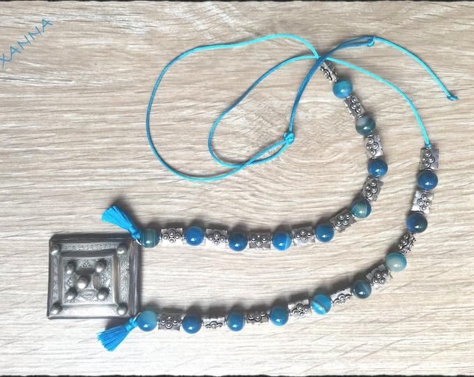Necklace MARRAKECH/piedras semiprecious/Blue Agate/Amulet Herz Berber/boho chic ethnic, hyppie, elegant, casual