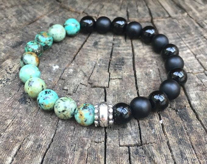 XANNA STONE bracelet (11) / semiprecious stones/matt-bright onyx and African turquoise/casual elegant