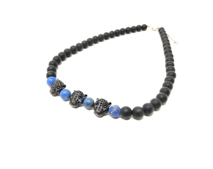 Gargantilla Sets VII and VIII (XANNA by Steven Vázquez) / blue imperial jasper and onyx matte / 2 black leopard parts with pavés
