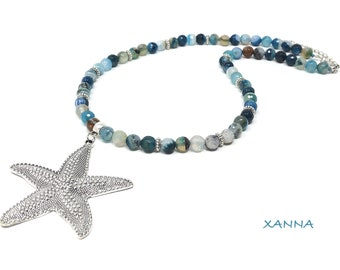 CHIC Necklace&LOVE STAR /Semiprecious Stones/Agate/Starfish Metal/Boho Chic Pendant and Stylish Casual