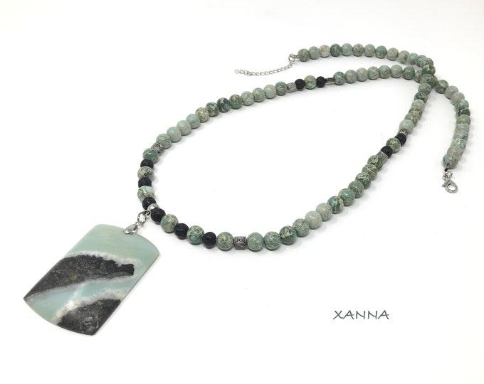 Collar VIRIDE /piedras semipreciosas/jaspe aqua-terra y lava negra/colgante de amazonita con pirita/Boho chic informal elegante