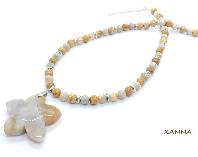 Collar STARFISH I /piedras semipreciosas/jaspe madera y coral fósil agatizado/colgante estrella ágata /boho chic informal elegante