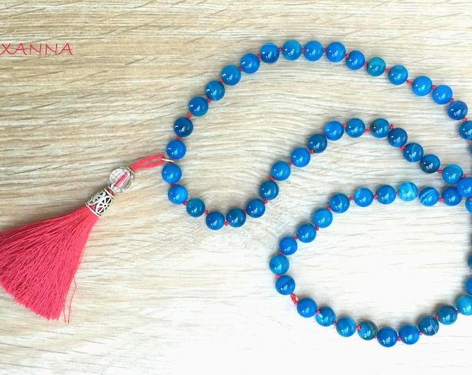 ROBLUE necklace /semiprecious stones/gemstone necklace/blue agate/borla/boho chic, elegant and casual