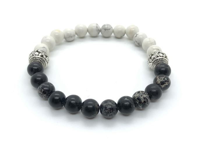 XANNA STONE Bracelet (19) semi-precious/piedras/Howlite and Imperial jasper/casual Elegant