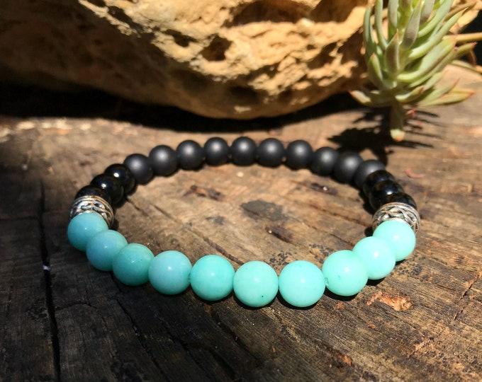 Semi-precious/piedrasing bracelet/Matte onyx-Glitter and amazonite/casual Elegant