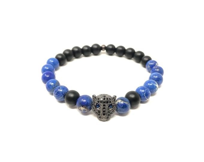 Bracelet Set VIII (XANNA by Steven Vázquez) / blue imperial jasper and onyx matte / black leopard footing with pavés