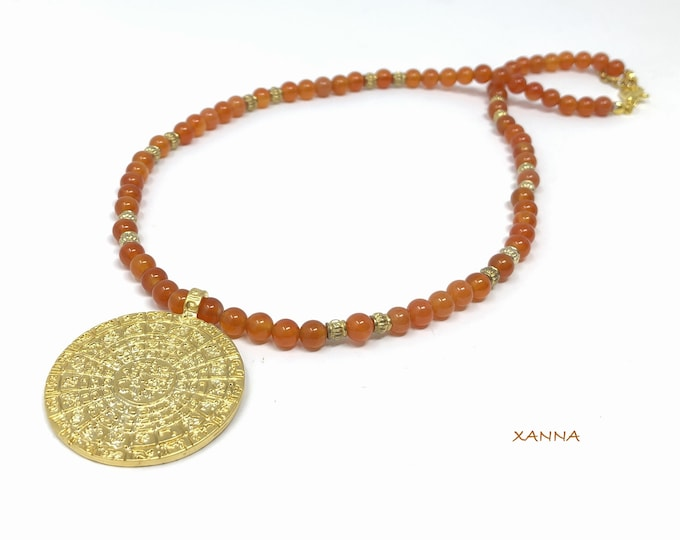 QIBLA necklace /semiprecious/cornaline stones/ethnic medallion Arabic qibla/boho chic, elegant and casual