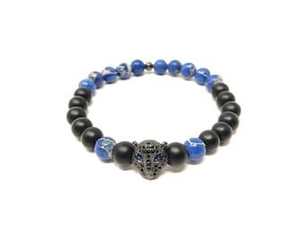 Bracelet Set VII (XANNA by Steven Vázquez) / blue imperial jasper and onyx matte / black leopard footing with pavés