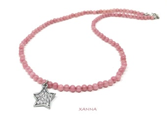 IVETTE Choker Necklace 12 /SemiPrecious Stones/Agate/Silver Star Pendant/Elegant Casual Boho Chic