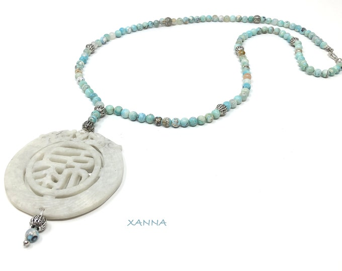MAYLIN VIII Necklace /Semiprecious Stones/Blue Agate/Eastern Jade Medallion Bone/Boho Chic, Elegant and Casual
