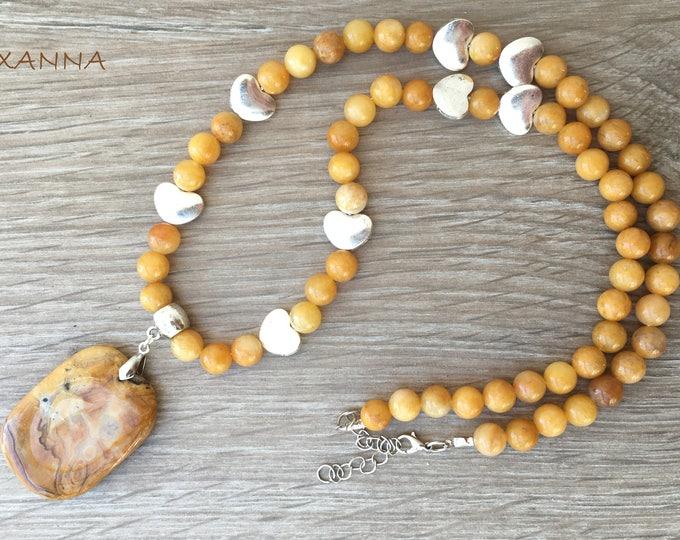 SUMMER SUN I Necklace /Semi-Precious Stones/Yellow Aventine/Lace Agate Pendant/Elegant Casual Chic Boho
