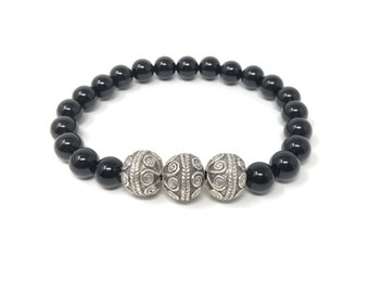 BOTH 15/piedras semiprecious bracelet/onyx/boho chic Elegant Casual