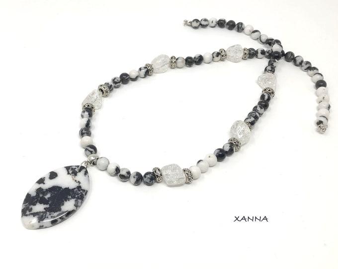 NIT Necklace I DIA (III) semi-precious/piedras/zebra and quartz jasper/elegant casual chic Boho
