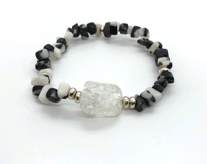 NIT bracelet I DIA (II) semi-precious/piedras/zebra jasper and white quartz or rock crystal/elegant boho chic casual