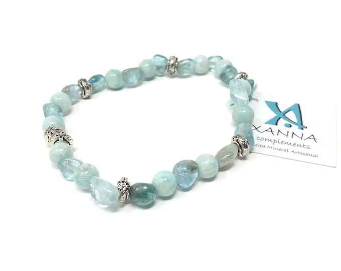 Bracelet X-NIIA /semi-precious stones/blue apatite and amazonite/boho chic, elegant, casual