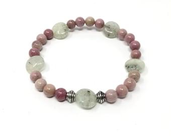 DOUCE bracelet/piedras semiprecious/prehnite green and Rodhonite pink/Boho chic casual Elegant