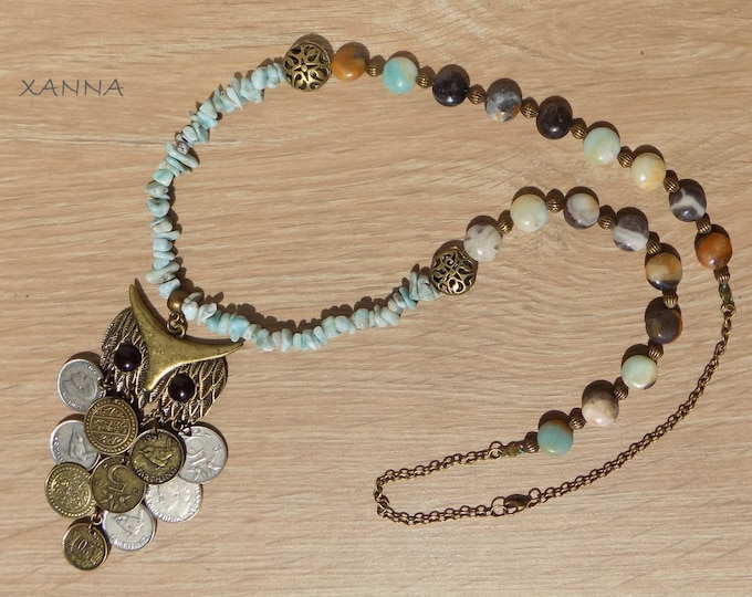 XUT necklace /semi-precious stones/larimar and amazonite/owl pendant with coins/Boho chic casual