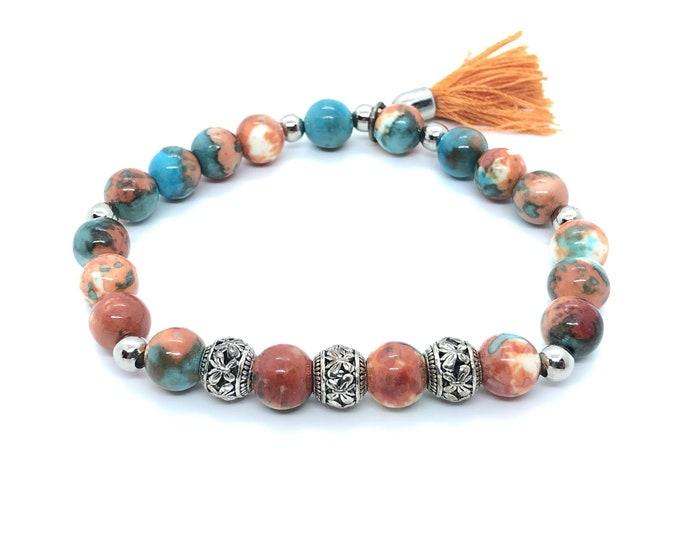 SITGES/semi-precious stones/white ocean jade, orange, turquoise/casual elegant bracelet