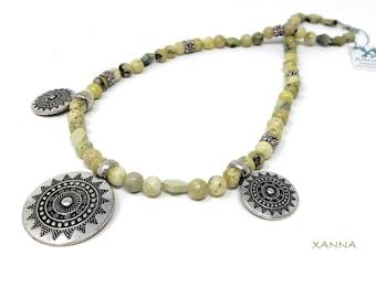 ALEXANDRA Choker Necklace /SemiPrecious/Serpentine Stones/Hangings Ethnic Design/Boho Chic, Elegant, Casual