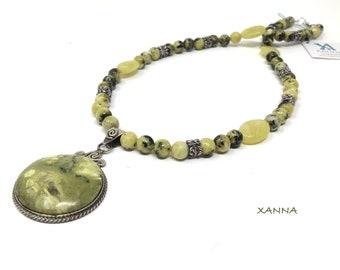 KASSANDRA Choker Necklace /SemiPrecious Stones/Serpentine/Serpentine Pendant/Boho Chic, Elegant, Casual