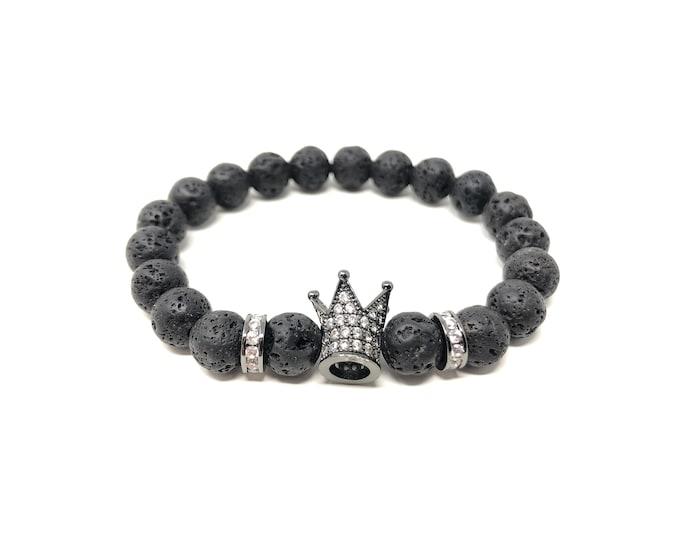 Bracelet Set VI (XANNA by Steven Vázquez) / black volcanic lava / black sheath crown with pavés