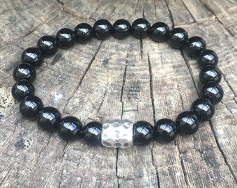XANNA STONE Bracelet (06) semi-Precious/piedras/Onyx & Silver bead/Elegant Casual