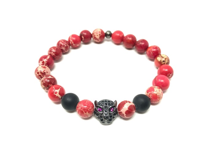 Bracelet Set I (XANNA by Steven Vázquez) / imperial jasper and onyx matte / black leopard footing with pavés