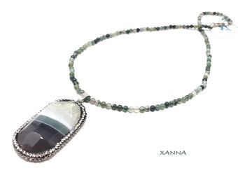 CHIC&LOVE Short Necklace (XII) /Semiprecious Stones/Mossy Agate/Bright Grey-Green-White Agate Pendant/Elegant Casual Boho Chic