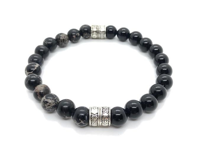 XANNA STONE Bracelet (21) semi-precious/piedras/Onyx and Imperial jasper/casual Elegant