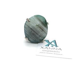 XANNA Ring 11 semi-precious/piedras/green agate-Grey-white