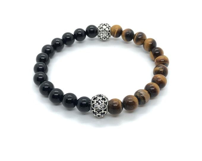XANNA STONE bracelet (28) / semiprecious/onyx stones and tiger's eye/casual elegant
