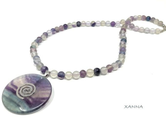 FLOW necklace /semiprecious stones/fluorite/fluorite pendant/blacknut fluorite/elegant casual boho chic