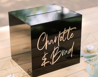 Lock & Key Black Acrylic Card Box I Acrylic Card Box I Wedding Card Box | Wedding Money Box | Custom Wedding Card Box | Card Holder