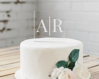 Acrylic Cake Topper | Personalized Wedding Cake Topper | Custom Cake Topper for Wedding | Modern Cake Topper | Monogram Cake Topper