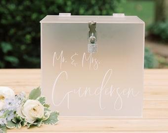 Frosted Acrylic Lock and Key Personalized Card Box I Wedding Card Box with Lock | Wedding Money Box | Wedding Card Box | Wedding Card Holder