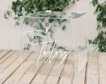 Lock and Key Personalized Acrylic Card Box I Wedding Card Box with Lock | Wedding Money Box | Wedding Card Box | Wedding Card Holder