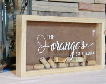 Personalized Wine Cork Keeper   Cork Holder   Custom Wedding Gift   Housewarming Gift   Rustic Wedding    Wood Wine Cork Shadow Box