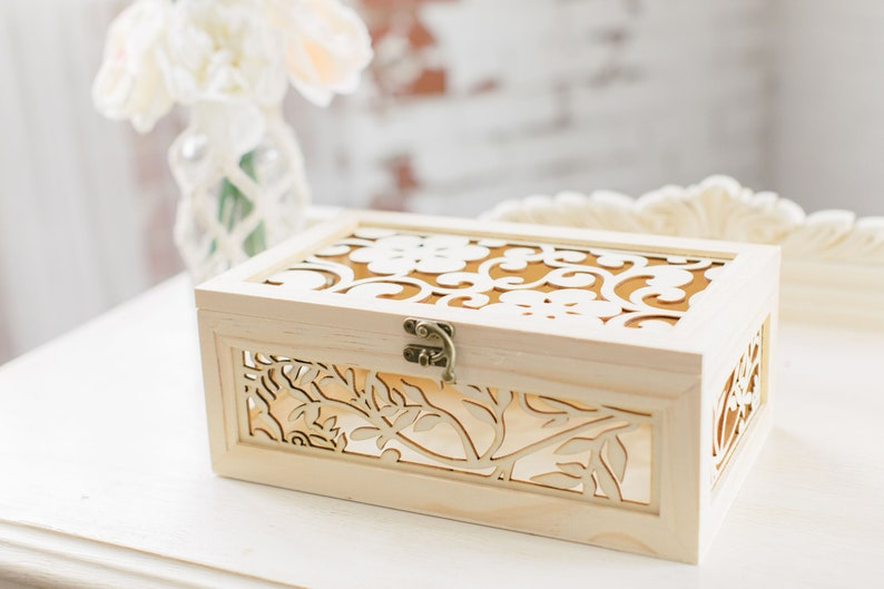 Laser Engraved Wood Keepsake Box Wedding Keepsake Box Anniversary Box Bride Gift Bridal Shower Gift Wooden Wedding Box Wood Box