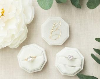Octagon Velvet Ring Box   Double Slot   Single Slot   Wedding Ring Box   Modern Ring Box   Engagement Ring Box   Custom Ring Box