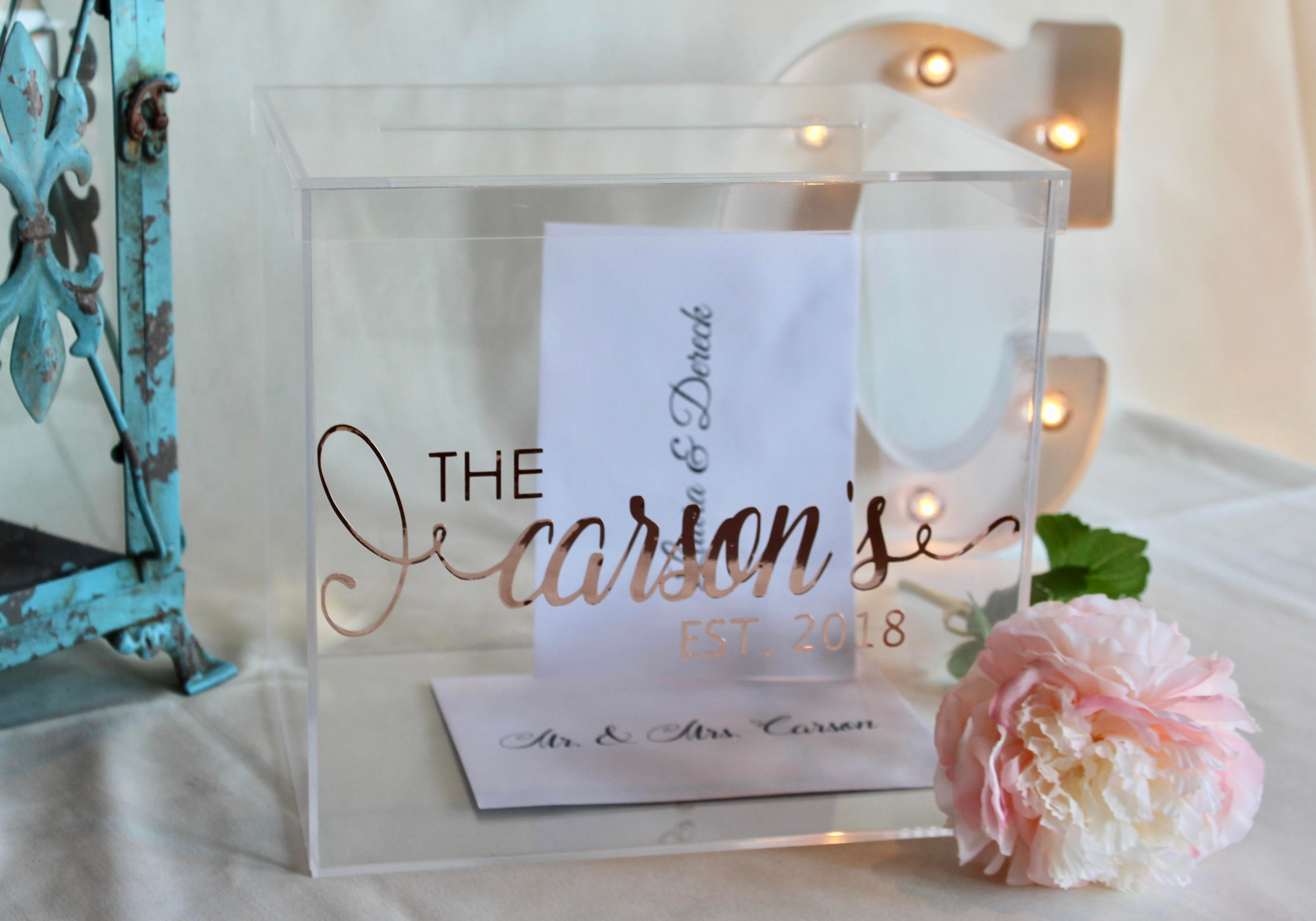 Gift Card Boxes Wedding: Personalized Wedding Card Box I Acrylic Card Box I Wedding