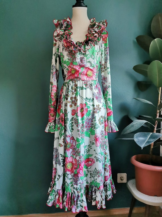 1970s Victor Costa Dress / Ruffle Dress / Floral D