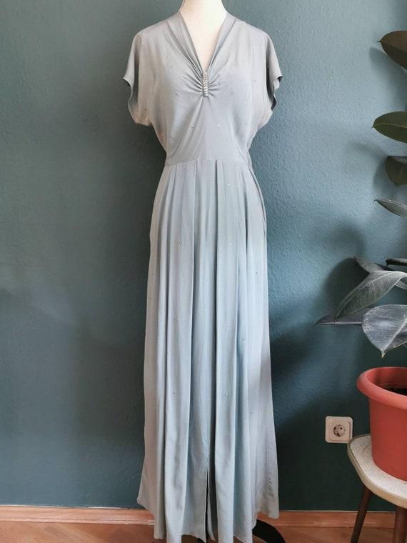 1940s Rhinestone studded evening dress / 40s Eveni