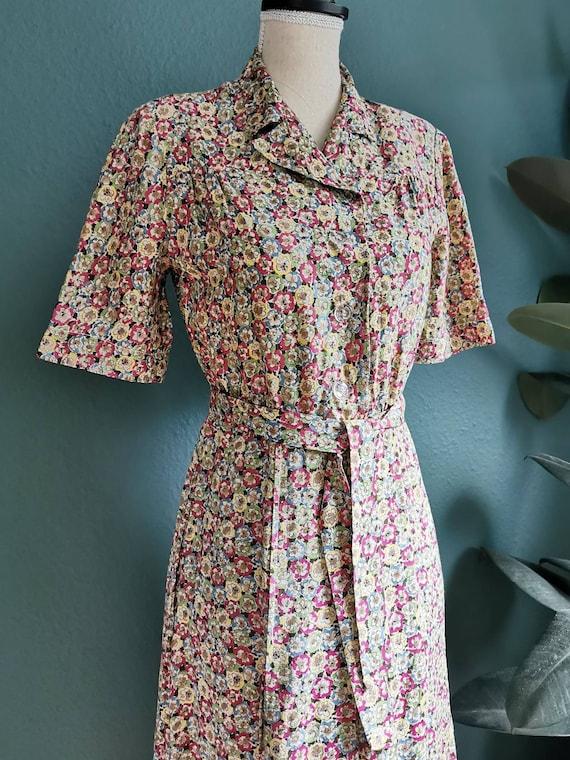 1940s Dress / 40s Day Dress /  40s Floral Dress /… - image 4
