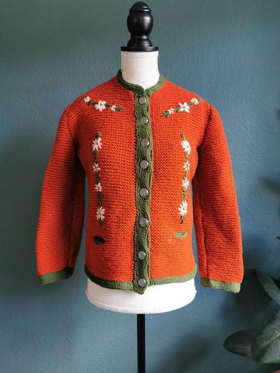 1940s Folk Sweater / 40s Sweater / 40s Cardigan