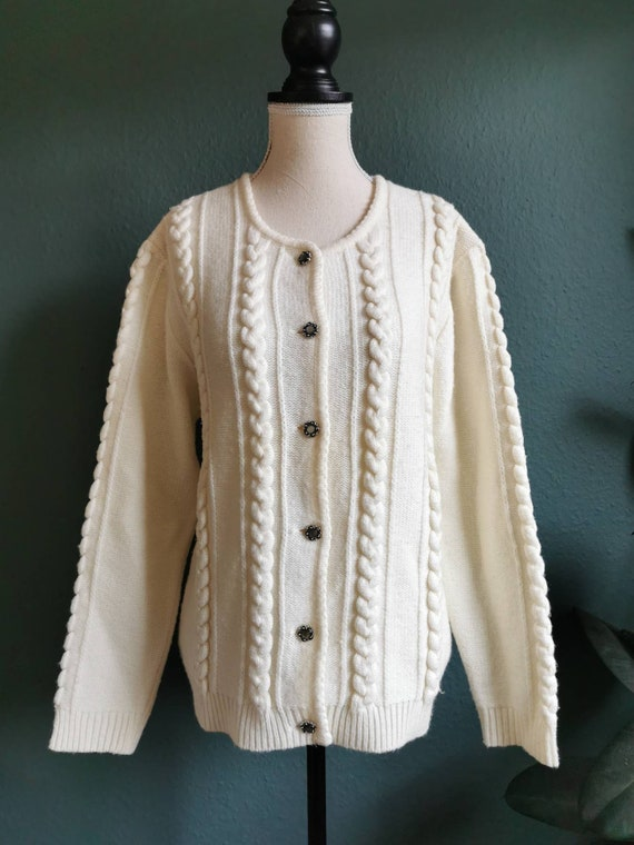 Vintage Cardigan / Cable-knit Sweater / Vintage Sw