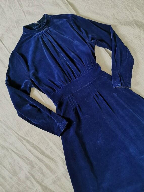 1930s Velvet Dress Blue / 1940s velvet dress / Vin