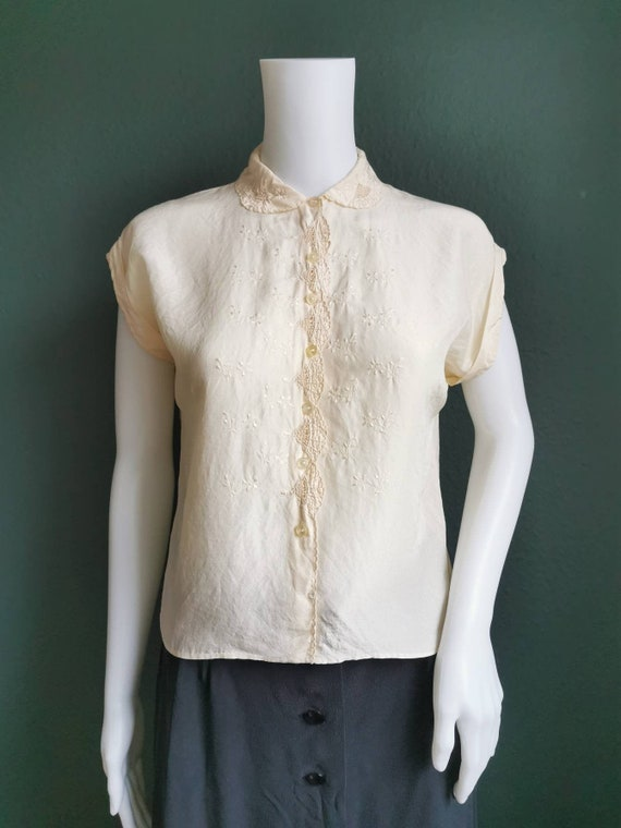 1930s Blouse / Silk and Lace Blouse / 30s Silk Blo