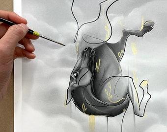 ASCENSION   Horse Giclée Print   Acrylic Painting   Surreal Horse Decor Gold Paint   Unique Horse Wall Art