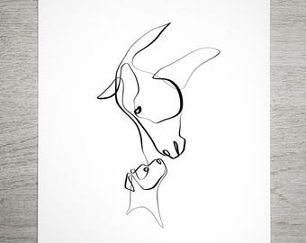 Single Line Art Print : Signed pit bull art print pitbull drawing